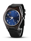 זול שעוני גברים-בגדי ריקוד גברים שעוני שמלה קווארץ סגנון פורמלי מספר ערבית עור שחור פשוט שעונים יום יומיים פרקט אנלוגי פאר אופנתי - שחור כחול שנה אחת חיי סוללה