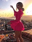 hesapli Mini Elbiseler-Kadın's A Şekilli Elbise - Solid Mini