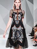 hesapli Print Dresses-Kadın's Temel Zarif A Şekilli Çan Elbise - Solid Zıt Renkli, Örümcek Ağı Kırk Yama Desen Diz-boyu
