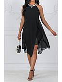 hesapli Mini Elbiseler-Kadın's Tatil Boho İnce A Şekilli Çan Abaya Elbise Payetler Boncuklar Şifon Boyundan Bağlamalı Diz üstü / Kumsal