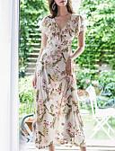 hesapli Kadın Elbiseleri-Kadın's Boho Zarif A Şekilli Elbise - Çiçekli, Fırfırlı Maksi