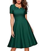 hesapli Günlük Elbiseler-Kadın's sofistike Zarif A Şekilli Elbise - Solid Midi