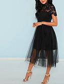 hesapli Romantik Dantel-Kadın's Temel Sokak Şıklığı Kombinezon Çan Elbise - Solid, Dantel Midi