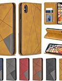 זול מגנים לאייפון-מארז עבור apple iphone xr / iphone xs מקסימום מגנטי / היפוך / עם מעמד גוף מלא מקרי דפוס גיאומטרי עור pu קשה עבור iphone 6/6 פלוס / 6 s / 7/8 פלוס / xs / x