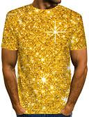 """זול טישרטים לגופיות לגברים-קולור בלוק / 3D / גראפי צווארון עגול סגנון רחוב / מוּגזָם מועדונים האיחוד האירופי / ארה""""ב גודל טישרט - בגדי ריקוד גברים דפוס זהב / שרוולים קצרים"""