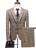 hesapli Takım Elbiseler-Haki Damalı Standart Kalıp Polyester Takım elbise - Çentik Tek Sıra Düğmeli İki Düğme