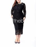 זול שמלות במידות גדולות-מותניים גבוהים מידי תחרה, אחיד - שמלה שיפון משוחרר מידות גדולות וינטאג' סגנון רחוב חגים ליציאה בגדי ריקוד נשים