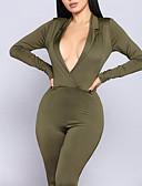 hesapli Kadın Tulumları-Kadın's Temel / Boho Siyah Ordu Yeşili Tulumlar, Solid Kırk Yama M L XL