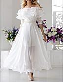 זול שמלות נשים-סירה מתחת לכתפיים סירה רחב מקסי תחרה קפלים, אחיד - שמלה סווינג אלגנטית בגדי ריקוד נשים
