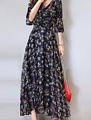 hesapli Print Dresses-Kadın's Şifon Elbise - Kar Tanesi Diz-boyu