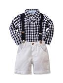 זול לבנים סטים של ביגוד לתינוקות-סט של בגדים שרוול ארוך משובץ בנים תִינוֹק