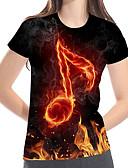 billige T-shirt-Løstsiddende Dame - Farveblok / 3D / Grafisk Trykt mønster Basale / overdrevet Plusstørrelser T-shirt Sort