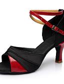 abordables Robes Dentelles Romantiques-Femme Chaussures de danse Satin / Cuir Verni Chaussures Latines Talon Mince haut talon Personnalisables Rouge-Noir / Utilisation