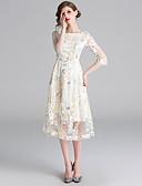 hesapli Kadın Elbiseleri-Kadın's Zarif A Şekilli Elbise - Çiçekli, Nakış Midi Beyaz