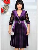 hesapli Tişört-Kadın's A Şekilli Elbise - Zıt Renkli Mini