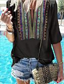 billige Bluser-V-hals T-skjorte Dame - Geometrisk Bohem Svart