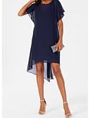 abordables Robes Dentelles Romantiques-Femme Elégant Asymétrique Trapèze Robe Couleur Pleine Bleu Marine M L XL Manches Courtes