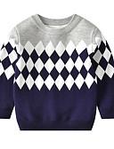 povoljno Džemperi i kardigani za dječake-Djeca Dijete koje je tek prohodalo Dječaci Aktivan Osnovni Geometrijski oblici Print Print Dugih rukava Džemper i kardigan Svjetloplav