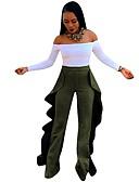hesapli Bikiniler ve Mayolar-Kadın's Sokak Şıklığı Geniş Bacak Pantolon - Solid Fırfırlı Mor Ordu Yeşili S M L