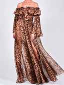 povoljno Maxi haljine-Žene Osnovni Korice Swing kroj Haljina - Naborano S izrezom Vezanje straga, Leopard Maxi