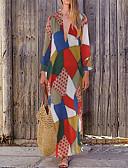 abordables Chemises Femme-Femme Maxi Balançoire Robe Bloc de Couleur Bleu Rouge S M L Manches Longues