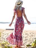 hesapli Kadın Elbiseleri-Kadın's Temel Boho Çan Elbise - Çiçekli, Fırfırlı Kırk Yama Desen Maksi