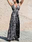 זול שמלות מקסי-כתפיה מקסי דפוס רצועות, נמר - שמלה נדן מידות גדולות בסיסי בגדי ריקוד נשים