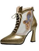 hesapli Kadın Kazakları-Kadın's Çizmeler Kıvrımlı Topuk Şifon / PU Sonbahar / İlkbahar yaz Siyah / Altın