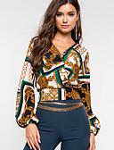 hesapli Gömlek-Kadın's Gömlek Desen, Ekose Vintage Yonca