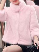 hesapli İki Parça Kadın Takımları-Kadın's Tatil / Doğum Dünü sofistike Kış Kısa Kürk Mont, Solid Boğazlı Uzun Kollu Suni Kürk Kırk Yama Siyah / Doğal Pembe / Gri