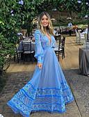 hesapli Romantik Dantel-Kadın's Temel Çan Elbise - Solid Maksi