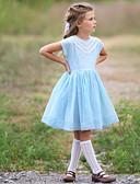 hesapli Elbiseler-Çocuklar Genç Kız Çizgili Diz-boyu Elbise Açık Mavi