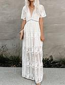 abordables robe grande taille-Femme Maxi Balançoire Robe Fleur Blanche S M L Manches Courtes