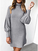 povoljno Print Dresses-Žene Osnovni Pletivo Haljina Jednobojni Iznad koljena