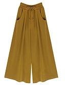 hesapli Kadın Pantolonl-Kadın's Sokak Şıklığı Salaş Geniş Bacak Pantolon - Solid Bağcık Keten Siyah Sarı Yonca S M L / Büyük Bedenler