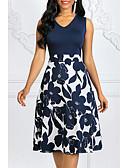billige Kjoler med tryk-Dame Plusstørrelser Vintage 1950'erne Bomuld A-linje Kjole - Prikker Blomstret, Trykt mønster Midi V-hals