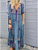 abordables robe grande taille-Femme Chic de Rue Maxi Ample Courte Robe - Imprimé, Fleur V Profond Eté Bleu clair Rouge Marron S M L Manches Longues