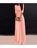 זול עור-מקסי אחיד - שמלה גזרת A נדן בסיסי בגדי ריקוד נשים