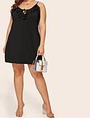 זול שמלות במידות גדולות-עלה טרופי שחור מעל הברך קפלים שרוכים לכל האורך, אחיד - שמלה גזרת A בוהו סגנון רחוב בגדי ריקוד נשים