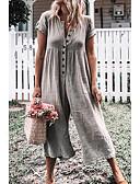 זול שמלות מודפסות-S M L שכבות מרובות אחיד, סרבלים רגל רחבה פול תלתן אפור בסיסי בגדי ריקוד נשים