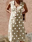 hesapli Kadın Elbiseleri-Kadın's Gömlek Elbise - Yuvarlak Noktalı Midi