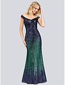 זול שמלות ערב-בתולת ים \ חצוצרה סירה מתחת לכתפיים עד הריצפה פוליאסטר / ניילון ערב רישמי שמלה עם נצנצים על ידי LAN TING Express