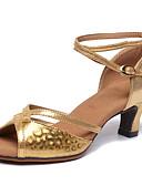 povoljno Maturalne haljine-Žene Plesne cipele Sintetika Cipele za latino plesove Štikle Deblja visoka potpetica Zlato / Srebro / Kava / Vježbanje