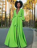 hesapli Print Dresses-Kadın's Sokak Şıklığı A Şekilli Elbise - Solid Derin V Maksi
