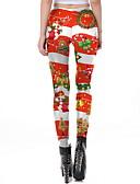 זול טייצים-בגדי ריקוד נשים חג מולד הדפס צועד - דפוס מותן בינוני אודם S M L / רזה
