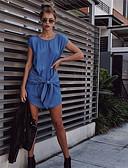 hesapli Mini Elbiseler-Kadın's Temel Kot Kumaşı Elbise - Solid, Çoklu Katman Bağcık Kırk Yama Diz üstü