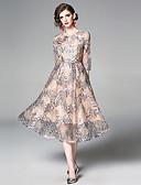 povoljno Ženske haljine-Žene Elegantno A kroj Haljina - Vezeno, Cvjetni print Midi Bijela