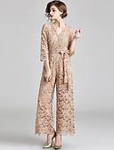 זול שמלות ערב-חליפת מכנסיים צווארון V באורך הקרסול תחרה ערב רישמי שמלה עם פפיון(ים) / תחרה על ידי LAN TING Express / אשליה