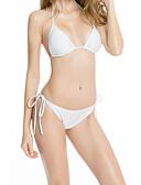 hesapli Bikiniler ve Mayolar-Kadın's Temel Beyaz Trójkąt Yarım Tanga Yandan Bağcıklı Bikiniler Mayolar - Solid Arkasız Bağcık S M L Beyaz