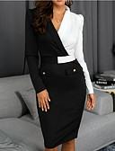 abordables Robes de Travail-Femme Mi-long Gaine Robe Bloc de Couleur Noir S M L Manches Longues